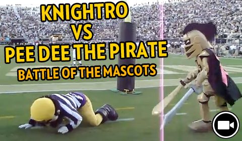 UCF vs. ECU: Knightro Slays PeeDee the Pirate Before Knights Football Game