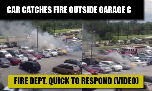 Car Catches Fire Outside Garage C; VIDEO
