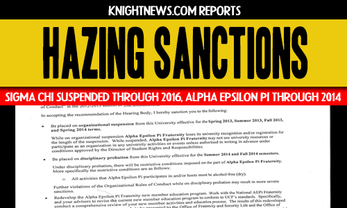 UCF Suspends Sigma Chi Through 2016, Alpha Epsilon Pi Through Spring 2014