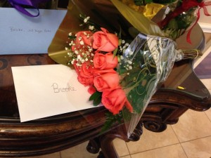 Flowers and cards dropped off by Phi Delta Theta at Kappa Delta House