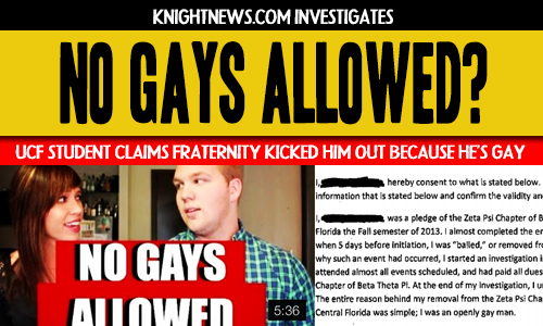 Pledge Says UCF Fraternity Kicked Him Out Because He's Gay