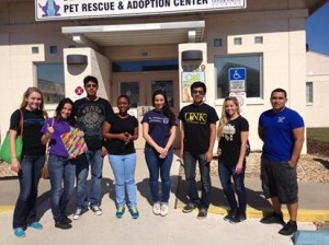 Don't Shop, Adopt outside a local pet rescue center