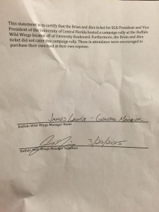Document signed by Buffalo Wild Wings manager that Brian and Alex did not cater event.