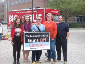 Students speak out about guns on campus outside the Student Union. (Photo: College Democrats).
