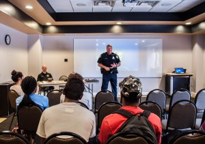 UCF Police Department conducts a free workshop for students, on how to handle an active shooter on campus, Thursday, September 10th, 2015.