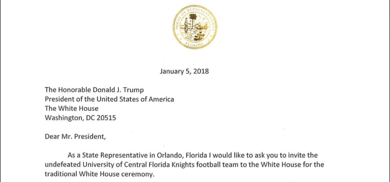 Florida rep mike miller pens a letter to president trump inviting buy thecheapjerseys Choice Image