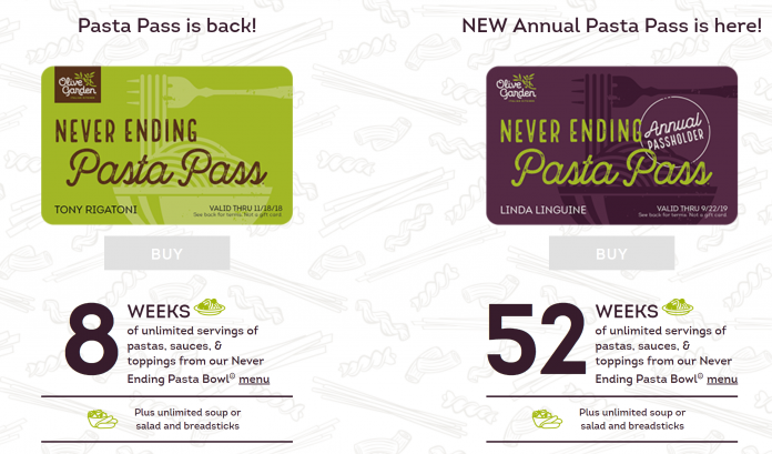 All The Pasta You Can Eat With Olive Garden S Never Ending: Olive Garden Never Ending Pasta Pass To Go On Sale