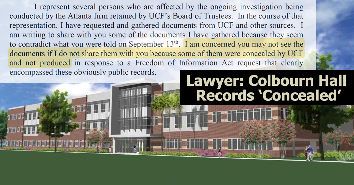 lawyer alleges records  u0026 39 concealed u0026 39  by ucf in colbourn hall