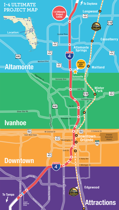 The specific segments of the $2.3 billion I-4 Ultimate project that will be accelerated include segments of westbound I-4 through downtown Orlando and portions of the SR 408 interchange. Photo courtesy of the Florida Department of Transportation's website.